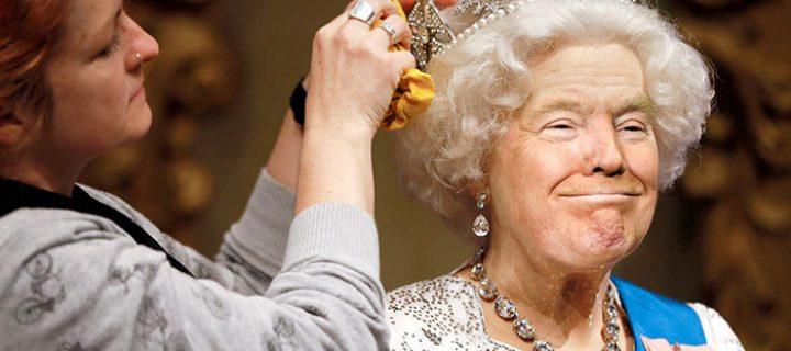 Americký prezident v koži britskej kráľovnej: Vtipná koláž baví internet